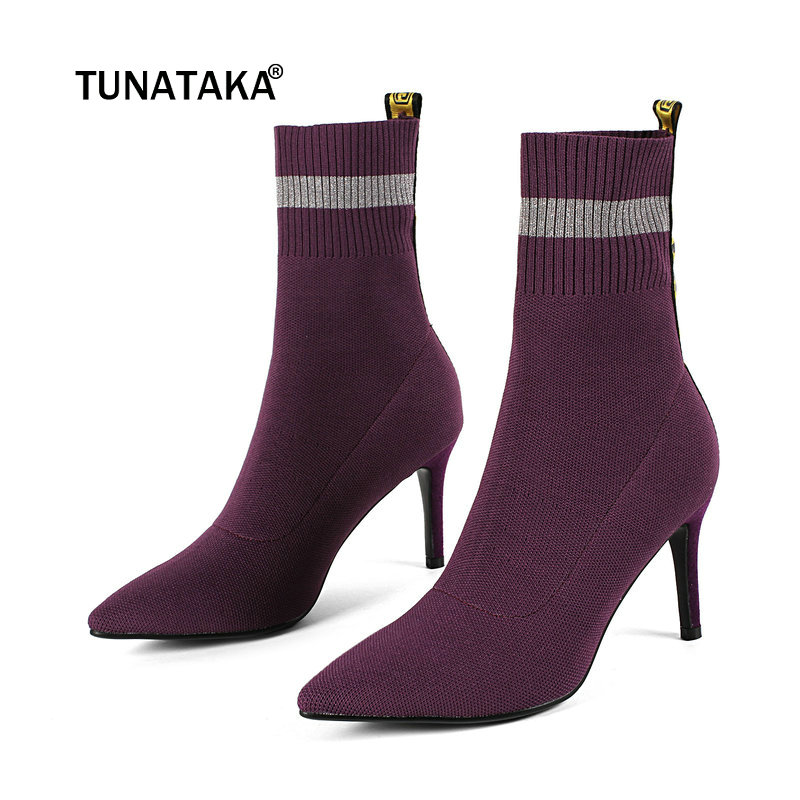 สุภาพสตรีหญิงถักบางส้นสูงข้อเท้าถุงเท้ารองเท้าแฟชั่น Slip On Pointed Toe ผู้หญิงฤดูใบไม้ร่วงฤดูหนาว Bootie สีดำสีม่วง-ใน รองเท้าบูทหุ้มข้อ จาก รองเท้า บน   1
