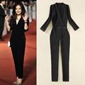 Black Elegant Jumpsuits 2016 New European Brand Rompers Combinaison Plus Size XXL Sexy V-Neck Enteritos Mujer