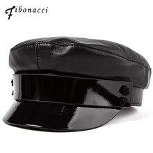 Fibonacci 2018 New Top Quality Genuine Leather Military Cap Patent Leather Brim Autumn Winter Sheepskin Flat Top Women Army Hat