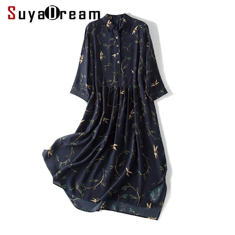 Vestido de seda 100% crepé de seda impreso vestido Casual azul marino para mujer media manga A Line 2019 vestido de verano-in Vestidos from Ropa de mujer    1