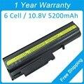 Nuevo 6 batería del ordenador portátil para lenovo ThinkPad T43 T42 R50 R51 T42P R51p R52p 92P1060 92P1091 92P1101 FRU 92P1069 92P1073
