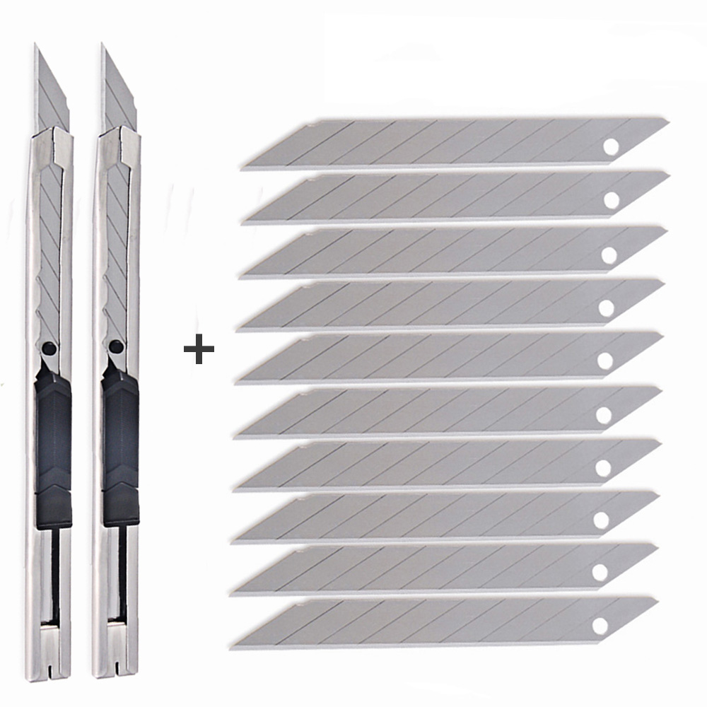 FOSHIO 2pcs Vinyl Film Utility Art Knife+10pcs 30 Degree Snap Off Blade Lockable Car Wrap Paper DIY Cutting Tool Sticker Cutter