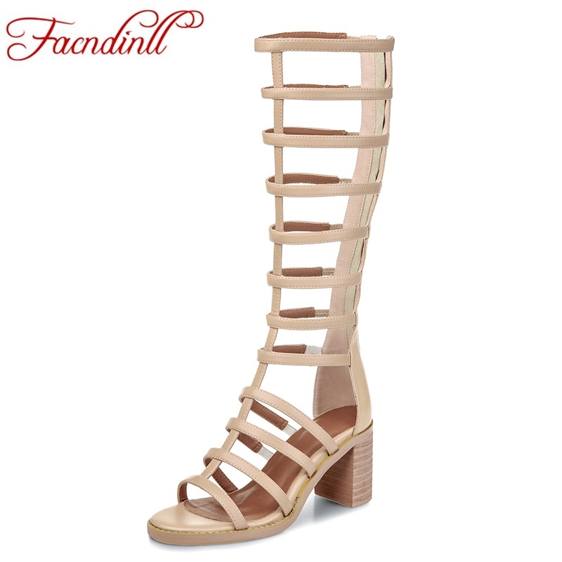 ФОТО new 2017 fashion gladiator women summer boots ladies sexy high heels peep toe knee high boots leather casual shoes woman black