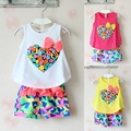 Fashion New Hot sale Korean Girl Clothes Colorful Heart Shaped Bow Vest Flower Short Clothing Set Kids Clothes 2017