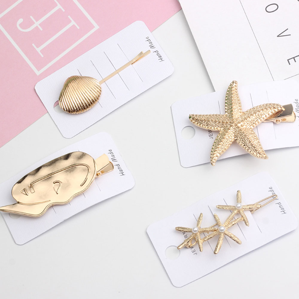2019 INS New Pearl Summer Barrettes Starfish Hair Grip Gold Hairpin Shell Hair Clip For Women Girl Wedding   Headwear   Accessories