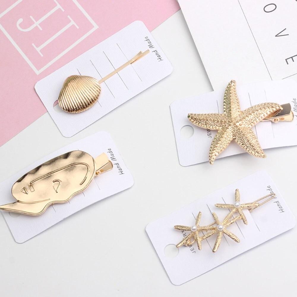 2019 INS New Pearl Summer Barrettes Starfish Hair Grip Gold Hairpin Shell Hair Clip For Women Girl Wedding Headwear Accessories