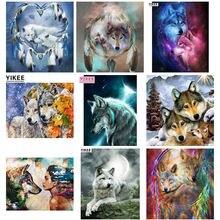 Алмазная вышивка волка мозаика Круглые животные полная квадратная