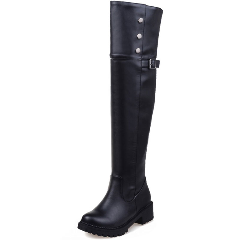 ФОТО 2016 Women's Winter/Autumn Over the Knee Boots Square High Heel Boots Fashion Round toe Boots Women Shoes Big size 30-52 ZT894