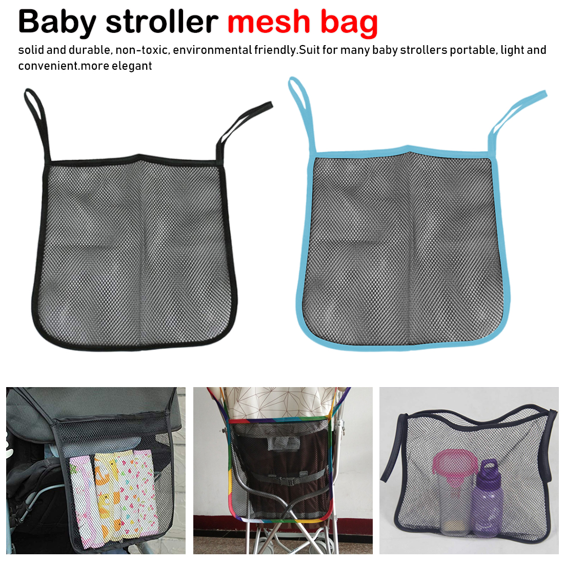 Hot Infant Pram Cart Mesh Hanging Storage Bag Baby Trolley Bag Stroller Organizer Seat Pocket Carriage Bag Stroller Accessories
