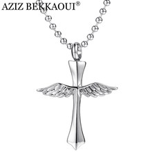 AZIZ BEKKAOUI Cross Stainless Steel Necklace Angel Wings Memorial Keepsake Pendant Necklaces Ash Urn Necklace Cremation Jewelry(China)
