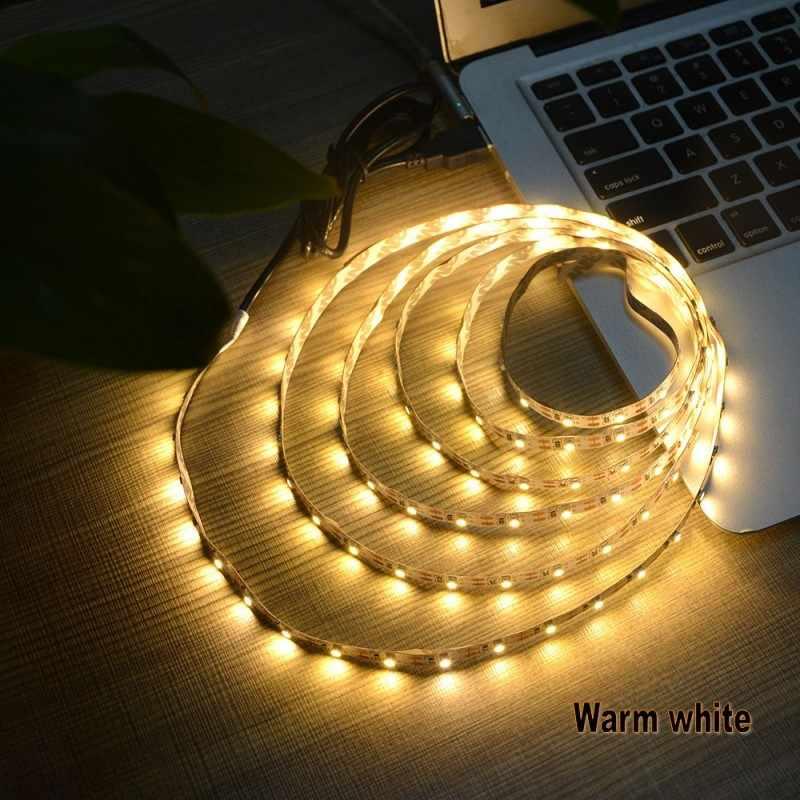 USB LED Strip licht Lichaam geïnduceerde 5 V 1 M 2 M 3 M 5 M Kabel Power SMD 3528 Kerst bureau Decor lamp tape TV Achtergrond Strip Verlichting