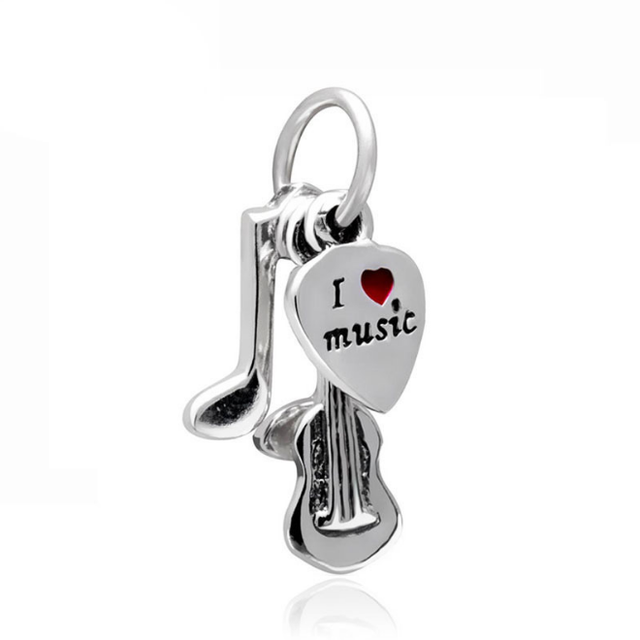 1pc silver plated i love music guitar hanging bead charms fit european beads style bracelet charms B122