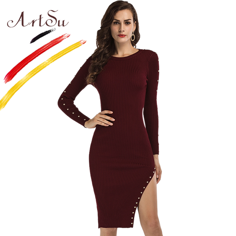ArtSu Europe Women Long Sleeve Sweater Dress Sexy High Split Knitted Midi Dress Club Party Dresses Fashion Rivets Robe ASDR20458 2016 women s clothing fashion in europe and the atmosphere bohemia elasticity knitted cultivate one s morality dress