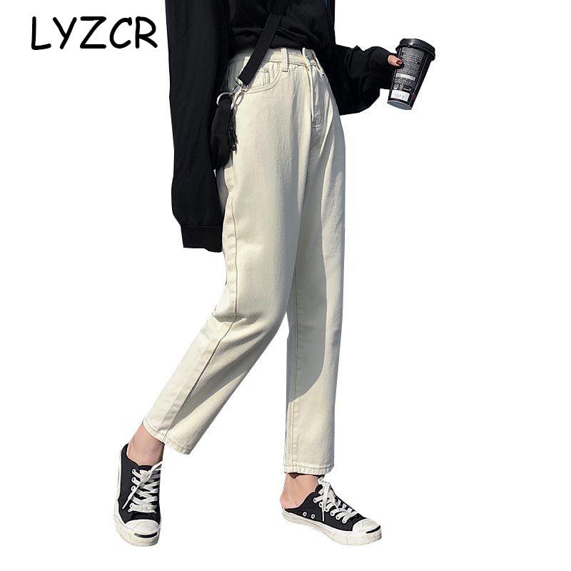 Lyzcr Boyfriend   Jeans   For Women Denim Harem Pant Loose Women's Beige   Jeans   With High Waist 2019 Cotton   Jeans   Female Trousers