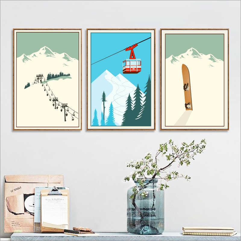 Thể Thao mùa đông Trượt Tuyết Nghệ Thuật Áp Phích Canvas Vẽ Tranh, Du Lịch Cổ Điển Áp Phích Trượt Tuyết Trong Tuyết Sơn Núi Mùa Đông Trang Trí Nội Thất