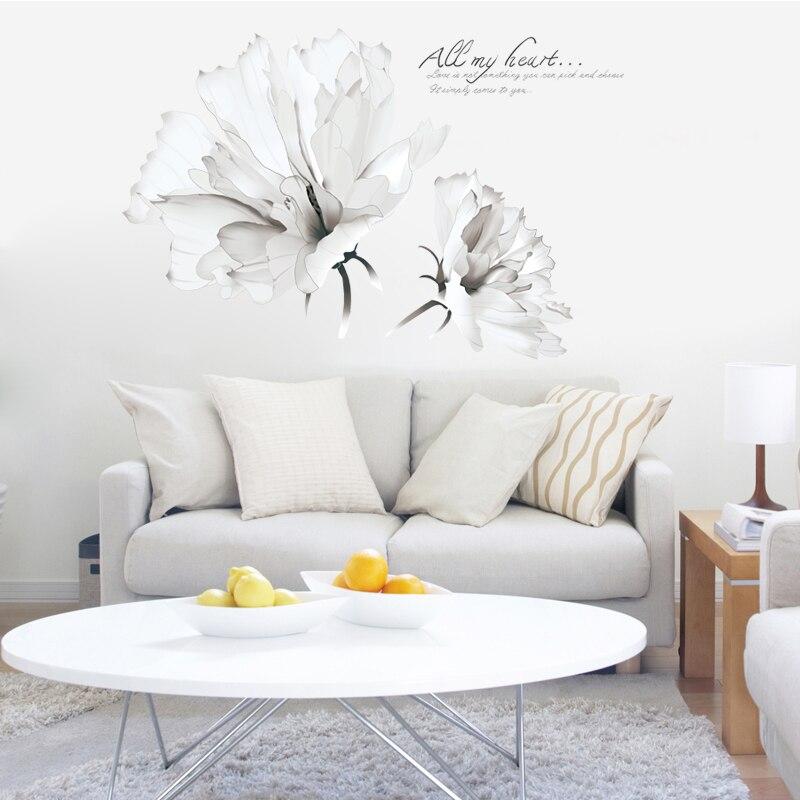 Creative Mur Chaud Et Romantique Chambre Chevet Stickers Muraux Papier Peint  Salon Mur Fleur Européenne Blanc Fleurs