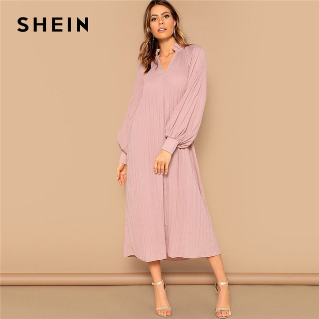 c67e89bd2f SHEIN Pink Ruffle V-Neck Bishop Sleeve Pleated Solid Hijab Maxi Dress Women  Spring Modest