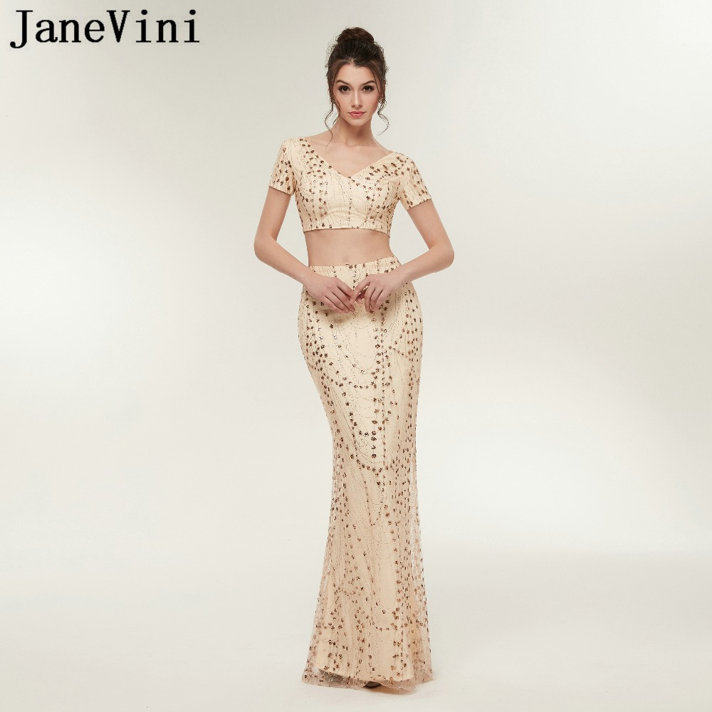 JaneVini Sparkle Champagne Gold Two Pieces   Prom     Dresses   V Neck Short Sleeve Sequined Mermaid Long Party Gowns Vestidos Compridos