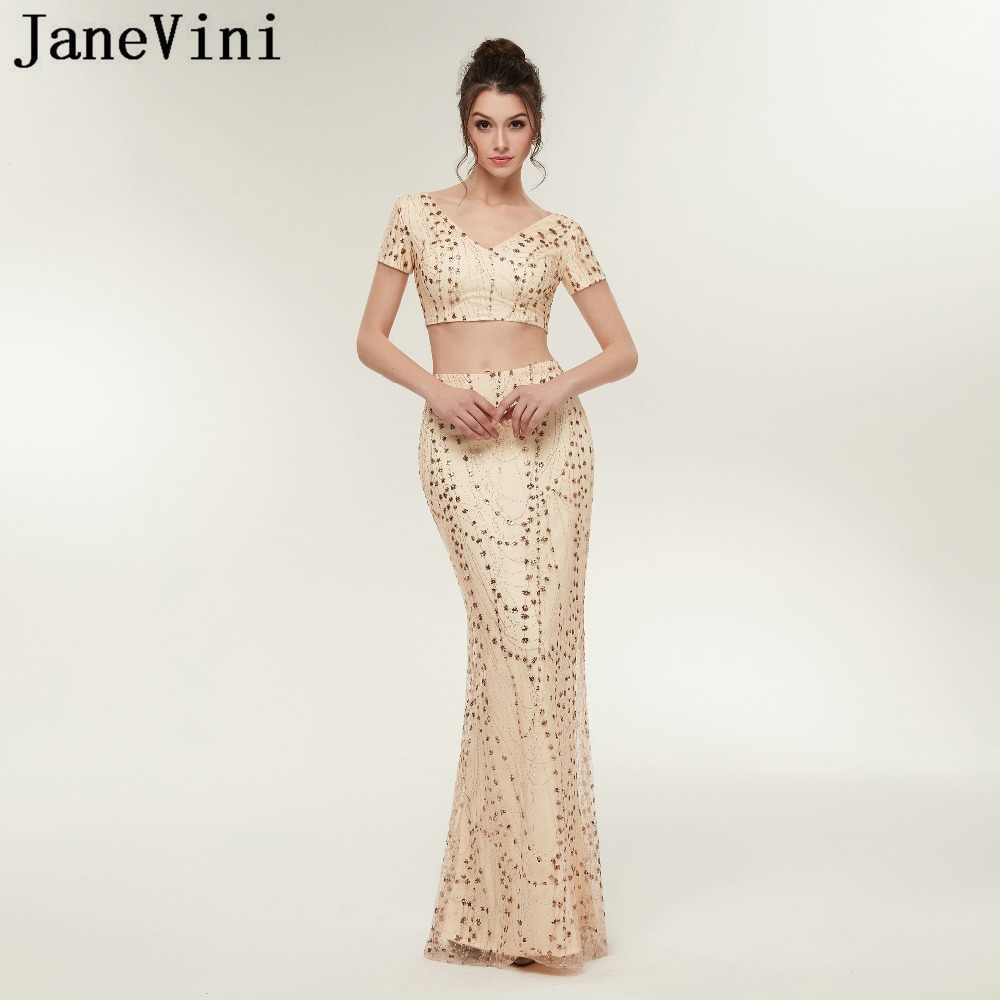 JaneVini Sparkle שמפניה זהב שתי חתיכות שמלות נשף V צוואר קצר שרוול נצנצים בת ים ארוך מפלגת שמלות Vestidos Compridos