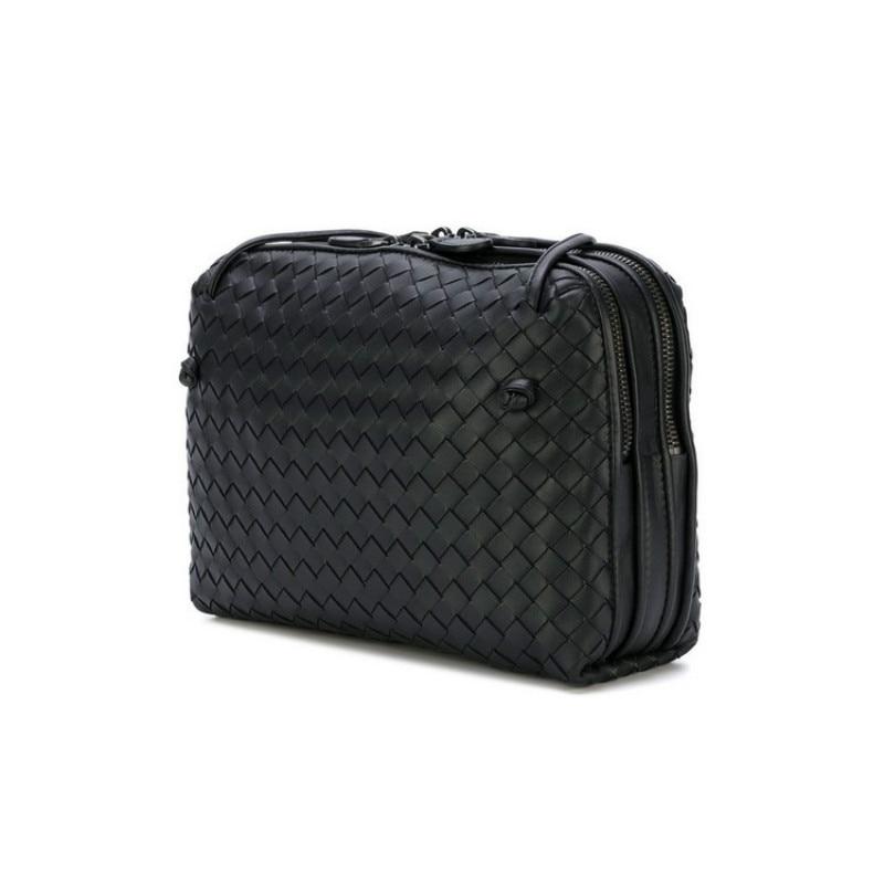 Fashion Double Zipper Sheepskin Handmade Woven Shoulder Bag Quality Genuine Leather Weave Cross body Ladies Messenger