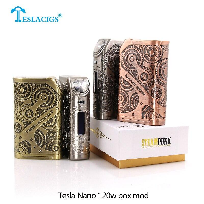 Original Teslacigs Tesla Nano mod 120w Vape Box Mod Steampunk style VW TC TCR mode Electronic