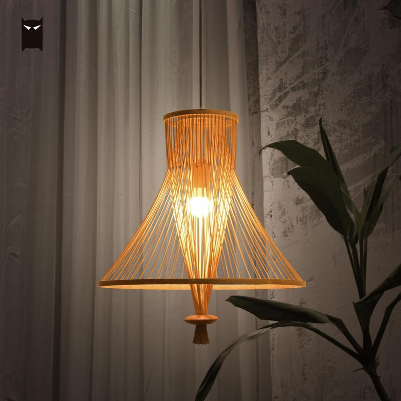 Bamboo Wicker Rattan Bundle Shade Pendant Light Fixture Chinese Classical Simple Hanging Ceiling Lamp Avize LED Luminaria Design chinese style rustic lantern bamboo rattan knitted classical led pendant light bedroom e26 e27 7w bulb 96 240v decorative lamp