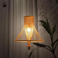 Bamboo Wicker Rattan Bundle Shade Pendant Light Fixture Chinese Classical Simple Hanging Ceiling Lamp Avize LED Luminaria Design