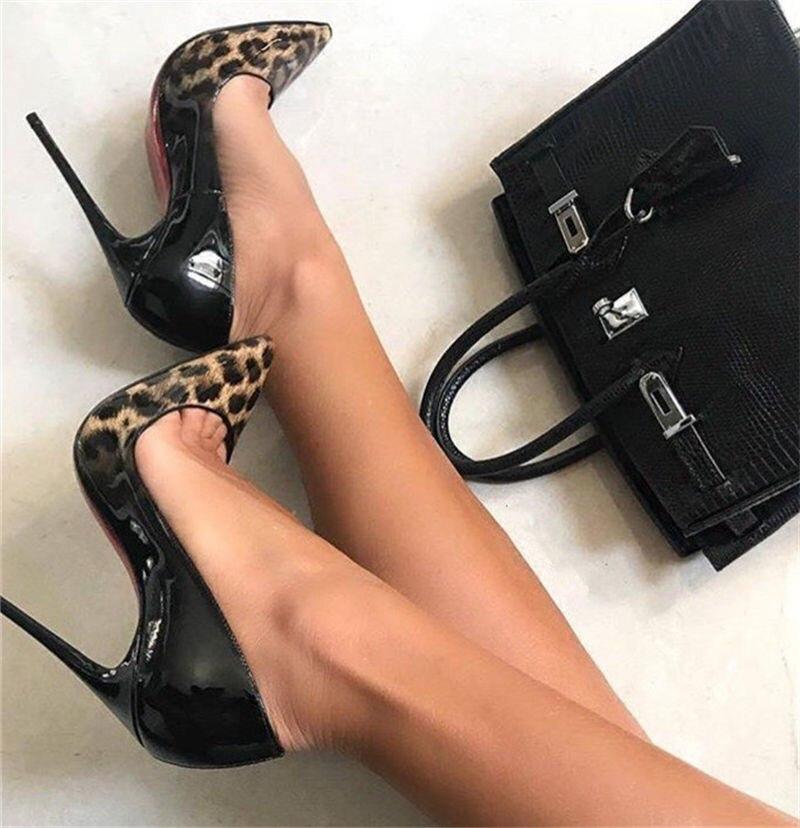 Printemps Automne Nouvelles Chaussures style classique talons hauts Bout Pointu Léopard Imprimé Patchwork Mince Talons Femme Pompes Sexy Talons
