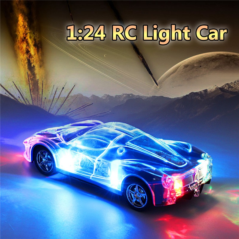 4WD 1/24 RC Remote Control Light Up Racing Car W/ 3D Flashing Lights Drive Toy Red Blue  ...