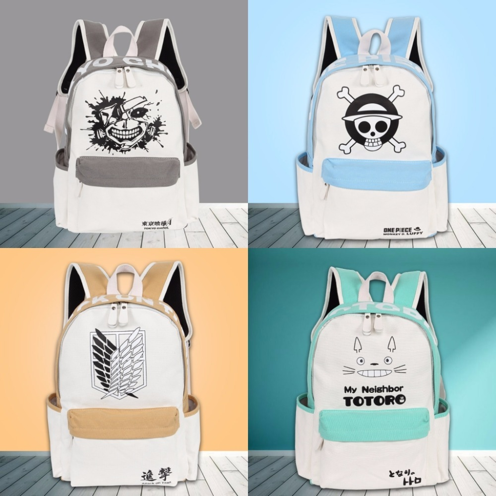 One Piece Backpacks Japan Anime My Neighbor Totoro NARUTO Tokyo Ghoul Cosplay Shoulder Bag Laptop Rucksack School Bags 8 style anime cartoon tokyo ghoul cosplay backpack schoolbag one piece gintama school bag rucksack men s women s naruto travel bag