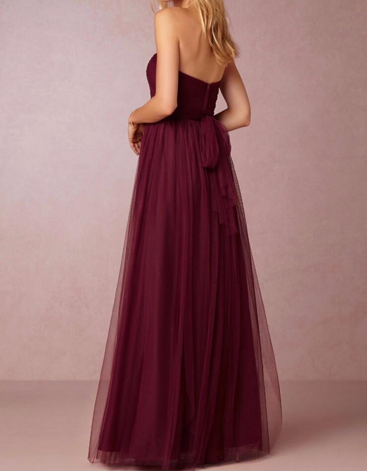 Burgundy Sweetheart Backless A-Line Long Bridesmaid Dress 2