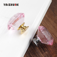 2019 New 40mm Diamond Shape Pink Crystal Glass Knobs Cupboard Pulls Drawer Handle Kitchen Cabinet Jewelry Wardrobe 1PCS cheap Furniture Handle Knob YNIZHURE YZ-1012 Modern Woodworking Single 100 Brand New