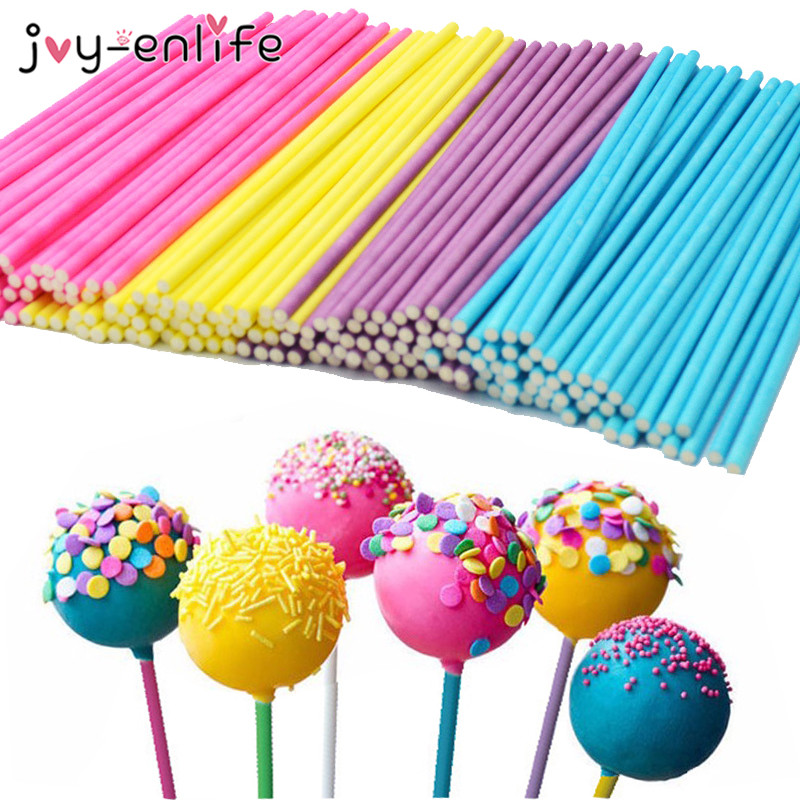 JOY-ENLIFE 100pcs Colorful Paper Lollipop Stick Cake Pop Sticks Child Kids Birthday Decor Christmas Party Wedding Decor Supplies ...