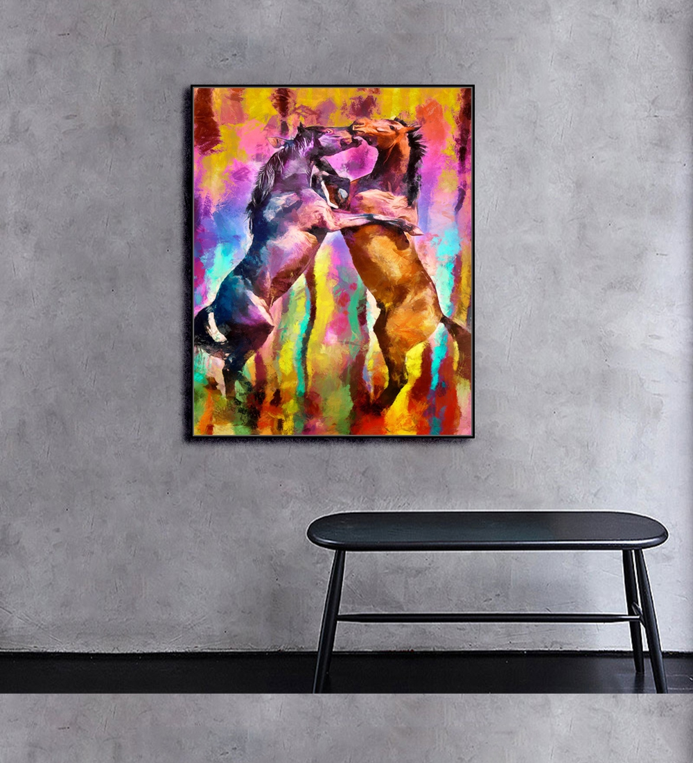 Fighting Horse Animals Print On Canvas Home Decor Wall Art Oil Painting Wall Picture Postesrs for Living Room Bedroom Decoration in Painting Calligraphy from Home Garden