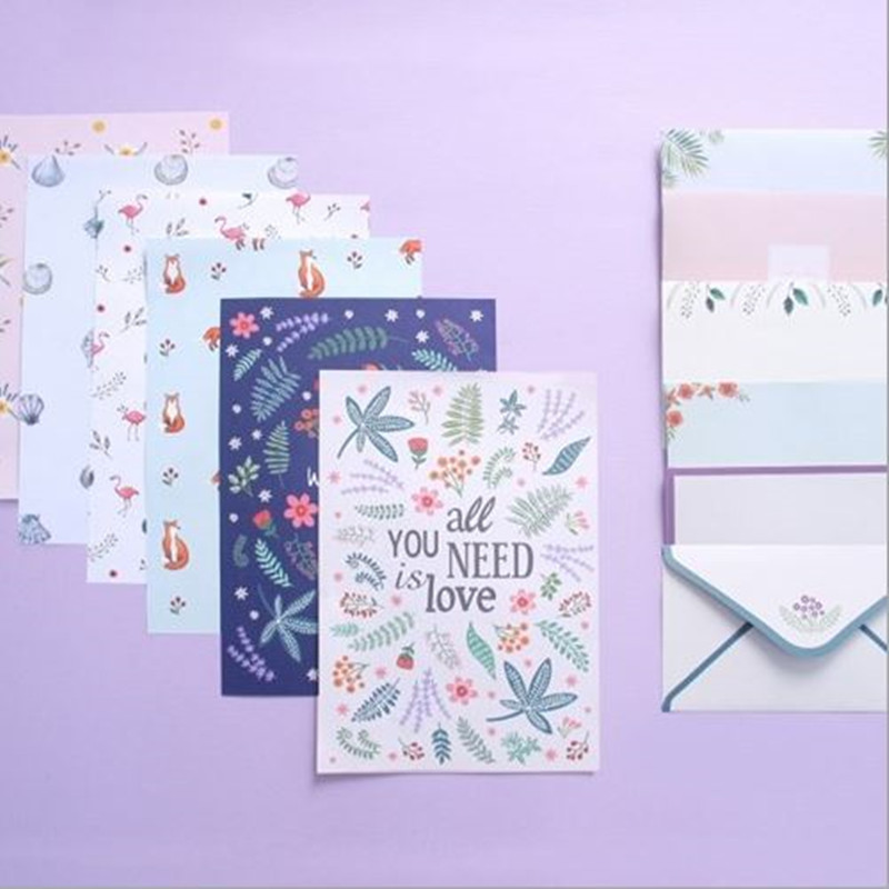 Coloffice 4 Letter And 2 Envelopes Paper Colorful Small Fresh Flowers Creative Letterheads Suit Cartoon Love Letters Envelopes