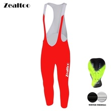 Zealtoo  Winter Thermal Fleece Cycling Long Bicycle Bib Pants 3D Gel Pad Bike Bib Tights Mtb Men Ropa Ciclismo Cycling pants spexcel high quality pro team winter thermal fleece cycling bib pants bicycle tights road mtb cool cycling gear with back pocket