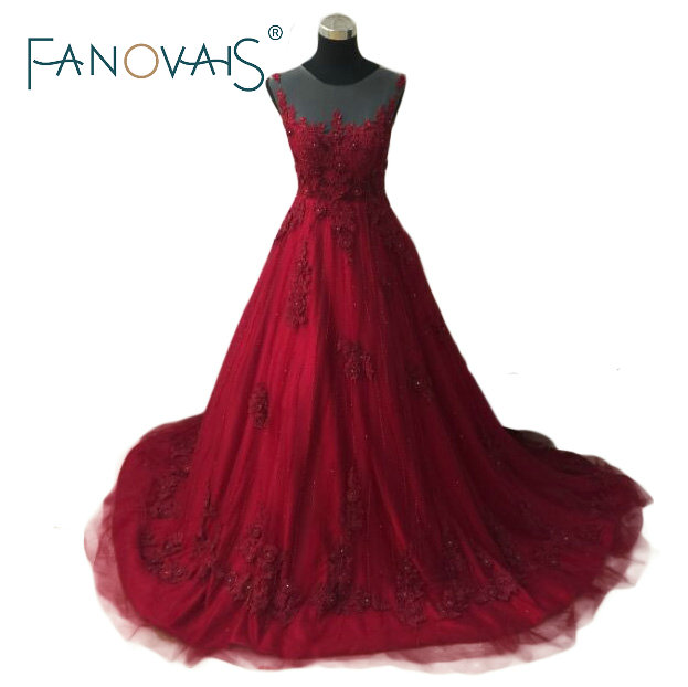 Ball Gown Charming Long Red Night Party Gowns Sleeveless Beads ...