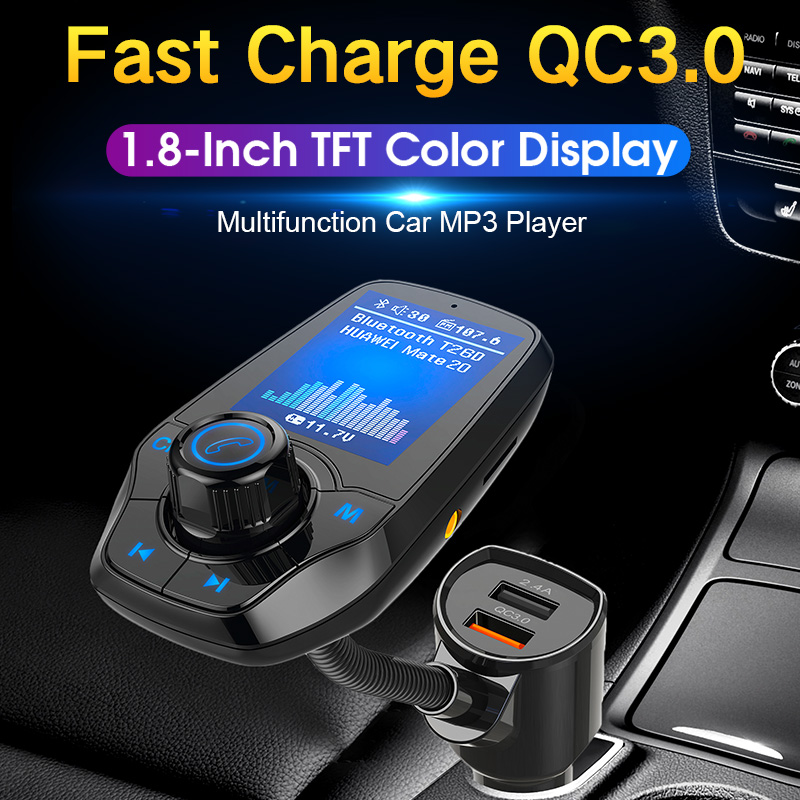 CDEN car mp3 player color screen 1 8 inch TF card music Bluetooth phone multimedia fm transmitter QC3 0 fast charge car charger in Car MP3 Players from Automobiles Motorcycles
