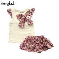 Baby Meisje Set Zomer bebes Zuigelingen Regelmatige t-shirt + bloemen cake katoenen Rok Broek Baby Meisje Kleding Outfit roupa Voor meisjes