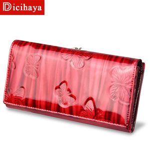 Image 2 - DICIHAYA Womens Wallets Women Leather Wallet Butterfly Design Ladies Clutch Patent Leather Purses Long Card Holder NEW 2019