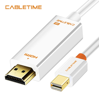 Cabletime Mini Dp To HDMI 4K Gold Plated Mini DisplayPort To 4K HDMI HDTV Cable For