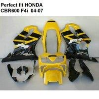 ABS plastic fairing for Honda CBR 600 F4i 04 05 06 07 yellow black fairings kit CBR600F4i 2004 2007 OW05