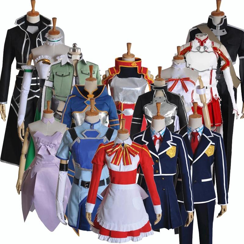 Sword Art Online SAO Asuna Yuuki Kirito Kazuto Konno Yuuki Group of Characters Cosplay Costume,Customized Accepted