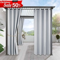 Outdoor Curtains Drapes For Porch Water Repellent Exterior Blackout Constant Temperature Curtain Panel With Tab Top