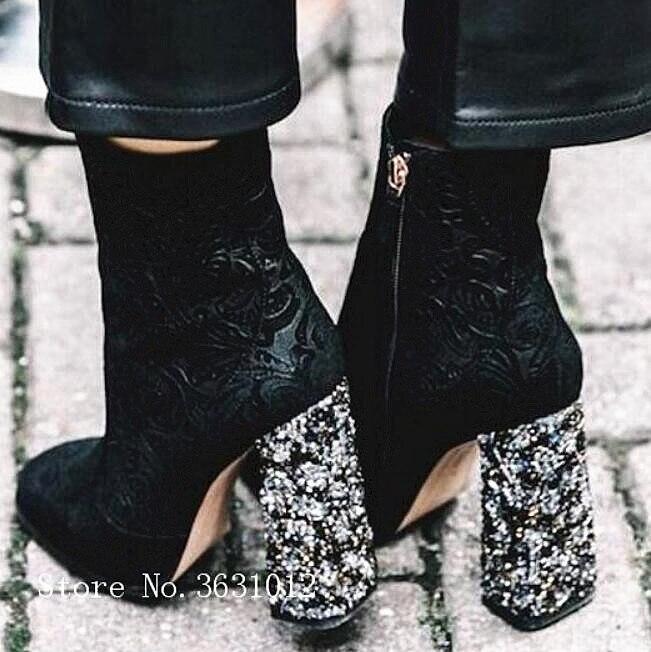 Tacón Botas Pic Tobillo Alto Cremallera De Grueso Gamuza Caliente Mujer Zapatos Glliter As Bordado Mujeres 2019 Lado qwatzO8
