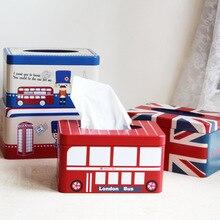 1PC Zakka Home Furnishing Tissue Box British Style Iron Tin NL 009