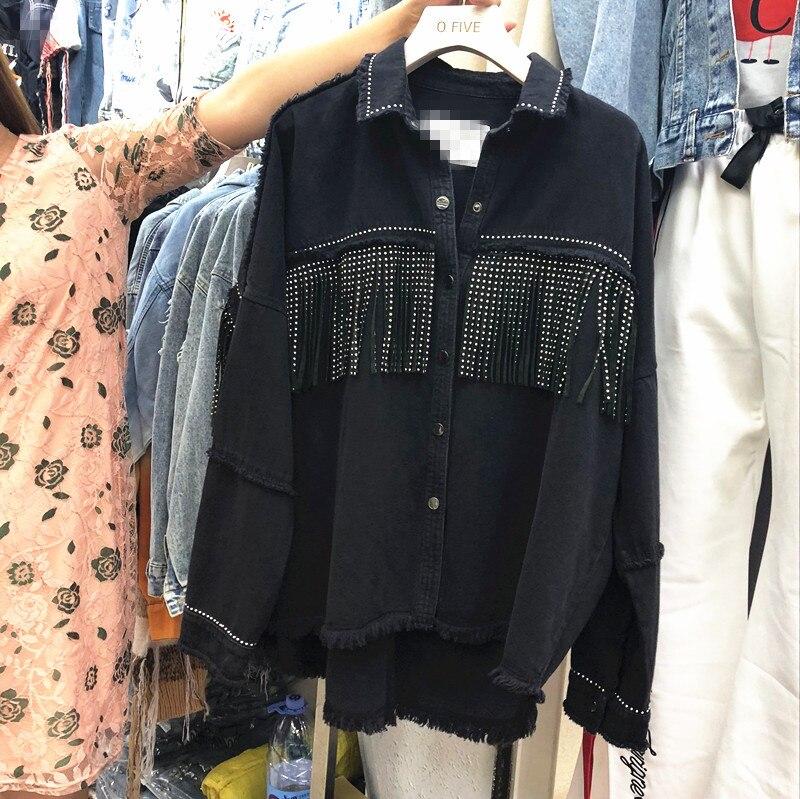 Mooirue Automne Punk veste jeans Unique Poitrine Coton Flash Glands Lâche Manteau Veste Femmes Droite décontracté Noir Cardigan