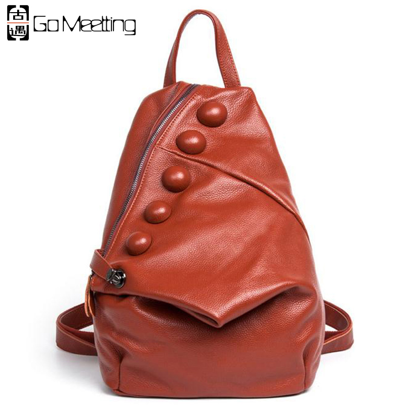 ФОТО Go Meetting Genuine Leather Women's Backpack Unique style Cow Leather Women Shoulder School Bag Fashion Travel Backpack WB13