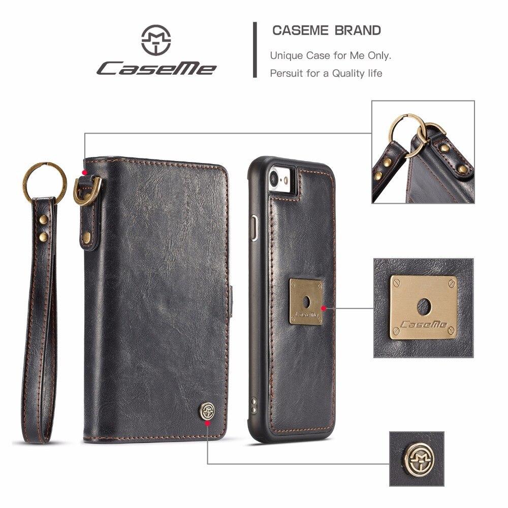 Caseme Роскошные Съемная Магнитный кошелек кожаный чехол для iPhone 7 8