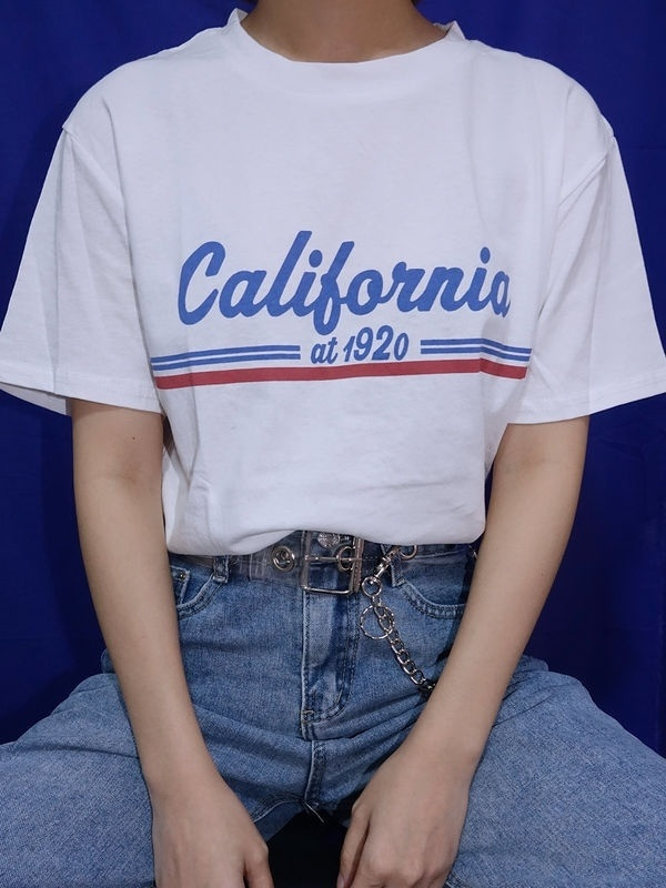 194a3e68b PUDO-XSXSummer Women Vintage Fashion California 1920 T-Shirt Street Style  Casual Loose White